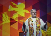 Bishop Christian Alsted preaches on May 12 during the United Methodist General Conference in Portland, Ore. Photo by Paul Jeffrey, UMNS.