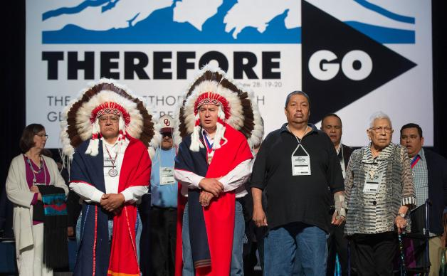 Representatives of the Cheyenne and Arapaho tribes are recognized May 18 at the 2016 United Methodist General Conference in Portland, Ore., where delegates received a tutorial on the 1864 Sand Creek Massacre, in which U.S. troops led by a Methodist preacher-turned-cavalry officer attacked unsuspecting Indians. Photo by Mike DuBose, UMNS