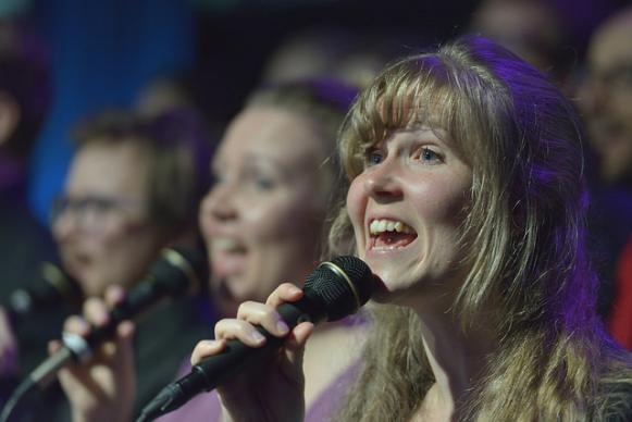 Members of Signatur, a choir from Norway, sing during morning worship on May 11 at the 2016 United Methodist General Conference in Portland, Ore. Photo by Paul Jeffrey, UMNS. #UMCGC
