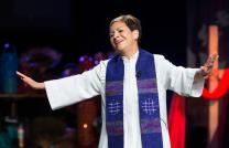 Bishop Cynthia Fierro Harvey of the Louisiana Area gives the sermon during morning worship at the 2016 United Methodist General Conference in Portland, Ore. Photo by Mike DuBose, UMNS