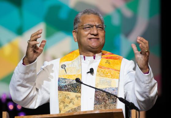 Bishop Ivan Abrahams top executive of the World Methodist Council, gives the sermon May 17 during morning worship at the 2016 United Methodist General Conference in Portland, Ore. Photo by Mike DuBose, UMNS.