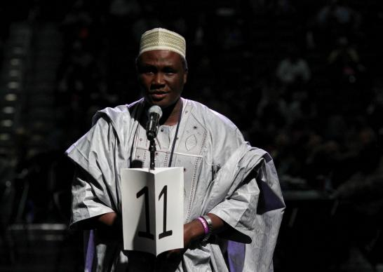 The Rev. John Auta of the Central Nigeria Conference speaks at General Conference 2016 for immediately adding two bishops in Africa. Delegates decided instead to add five bishops, but not until after 2020. Photo by Maile Bradfield, UMNS.
