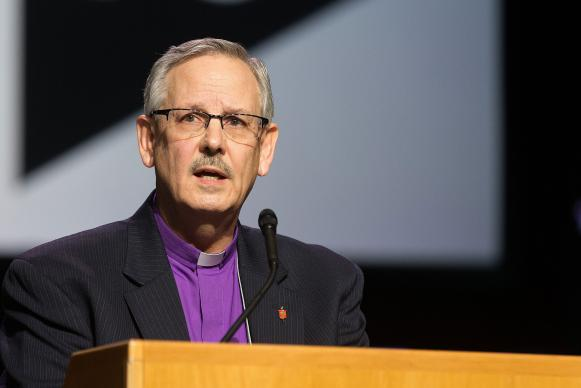 Bishop Bruce R. Ough, president of the United Methodist Council of Bishops, told the 2016 United Methodist General Conference that the bishops are not supporting any plan for a split of The United Methodist Church. But Ough admitted in his address on May 17 that the bishops are are not fully united on how the church should go forward in the face of differences over full inclusion of LGBTQ people. Photo by Mike DuBose, UMNS