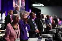 United Methodist bishops listen to morning worship from the stage of the 2016 United Methodist General Conference in Portland, Ore.  Photo by Kathleen Barry, UMNS