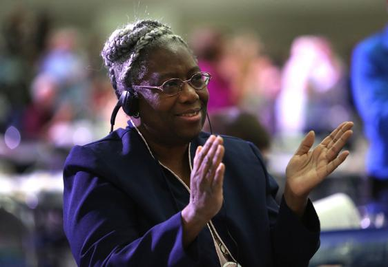 Martha Banks, a neuropsychologist and delegate from the the East Ohio Conference, submitted a petition titled, Effectively Recruiting and Retaining Young Clergy of Color. Photo by Kathleen Barry, UMNS