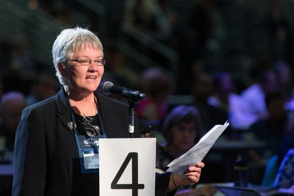 Holly Neal of the Tennessee Conference helps deliver the laity address during the 2016 United Methodist General Conference in Portland, Ore. Photo by Mike DuBose, UMNS