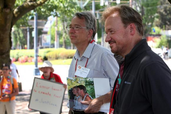 The Rev. Mike Tupper (left) and the Rev. Frank Schaefer hold a press conference to speak about their call for sleeping outside on May 13 as part of National Tent Night