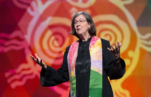 Bishop Elaine Stanovsky preaches during worship May 20 at the 2016 United Methodist General Conference in Portland, Ore. Photo by Mike DuBose, United Methodist News Service.