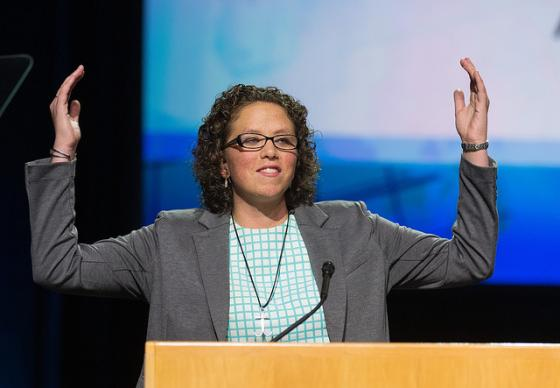 Chelsea Spyres of the Peninsula-Deleware Conference helps deliver the young people's address during the 2016 United Methodist General Conference in Portland, Ore. Photo by Mike DuBose, UMNS.