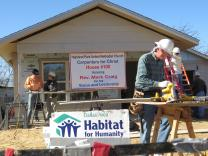 Highland Park United Methodist Church's Carpenters for Christ group is nearing completion of its 100th Habitat for Humanity house, in time for the church's centennial celebration. Photo by Sam Hodges, UMNS