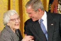 President George W. Bush awards the Presidential Medal of Freedom to author Harper Lee during a ceremony Monday, Nov. 5, 2007, in the East Room. White House photo by Eric Draper.