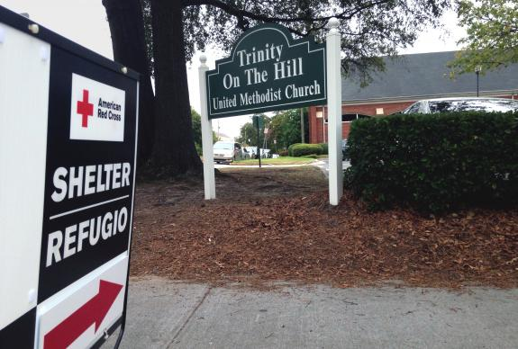 A sign in front of Trinity on the Hill United Methodist Church in Augusta, Georgia, marks it as a shelter during Hurricane Matthew. Photo by Scott Parish, North Georgia Conference.