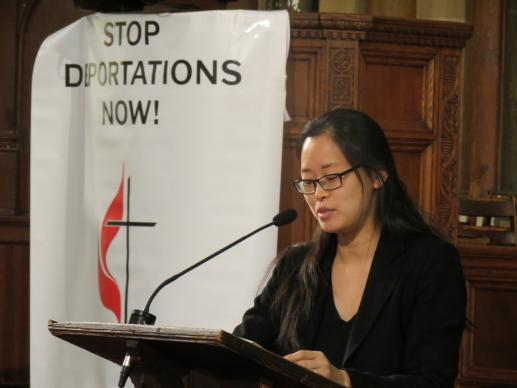 Tereza Lee told those gathered for an interfaith prayer vigil on April 25 sponsored by the New York Conference about the struggles her family faced as undocumented residents of Chicago. Photo by the Rev. Joanne Utley, New York Conference