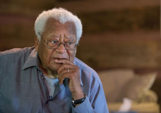 The Rev. James Lawson talks about Black Lives Matter and the civil rights movement during a break from teaching at the Children Defense Fund's Proctor Institute in Clinton, Tenn. UMNS photo by Mike DuBose