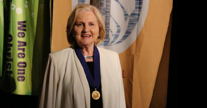 The Rev. Jo Anne Lyon is the latest World Methodist Peace Award Winner, and received her medallion at the World Methodist Conference in Houston on Sept. 3. Photo by Brant Mills, Texas Conference