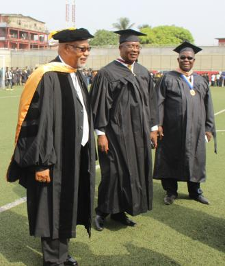Johnson Gwaikolo, center, attends a United Methodist University graduation program in 2015. Gwaikolo now heads the institution officially as its president after serving as interim president for the past year. Photo courtesy Julu Swen