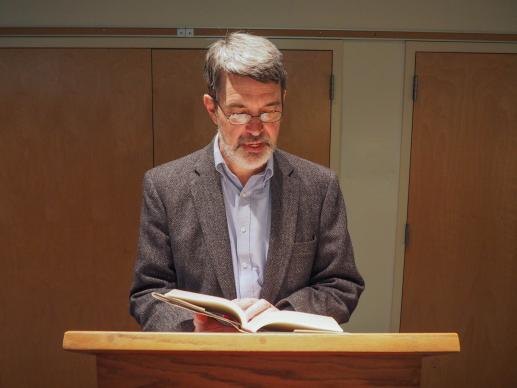 "The Rev. Joseph Reiff reads from his book ""Born of Conviction: White Methodists and Mississippi's Closed Society"" at a book release event in Abingdon, Va., on December 5, 2015. Photo by Sarah K. Reiff."