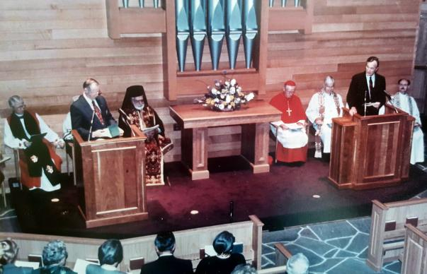 The Rev. Laurence Hull Stookey, man with the mustache at right, planned the liturgy for and participated in the 1991 dedication of Evergreen Chapel, the nondenominational worship space used by U.S. presidents and staff at Camp David. Photo courtesy of the Rev. Rob Agpar-Taylor