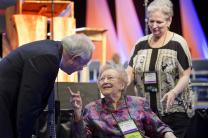 Louise Short, 106, (center) visits with Bishop Benjamin Chamness on May 1 during the 2012 United Methodist General Conference in Tampa, Fla. At right is Jo Ann McClain, administrative assistant for the Council of Bishops. A file photo by Mike DuBose, UMNS
