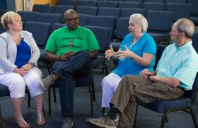 United Methodist clergy and disaster response officials discuss church response to historic flooding in southern Louisiana during a meeting at Louisiana Avenue United Methodist Church in Lafayette. From left are: the Revs. Ramonalynn Bethley, Robert Johnson and Susan Ferguson and Scott Sutton, Acadiana District recovery coordinator. Photo by Mike DuBose, UMNS
