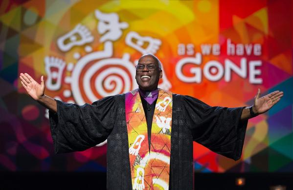 Bishop Warner H. Brown Jr. helps lead opening worship at the 2016 United Methodist General Conference in Portland, Ore. Photo by Mike DuBose, UMNS