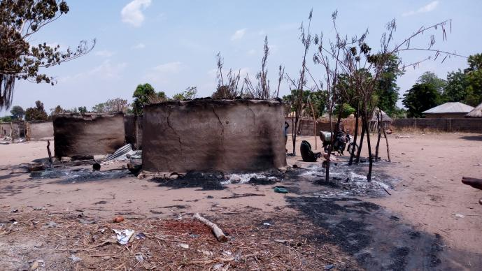 The remains of a building that burned during violence in Didango, Nigeria, that resulted from a dispute over harvesting fish from a pond. Photo by Sharon Adamu Bamuka, UMNS