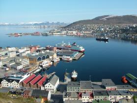Hammerfest, Norway, north of the Arctic Circle, is home to some 10,000 people. Photo by Clemens Franz, Wikimedia Commons