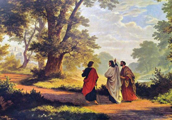 """The Road to Emmaus,"" an 1877  painting by Robert Zund.  The Gospel of Luke account remains beloved reading and gives inspiration to spiritual retreats. Public Domain"