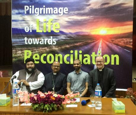 "Bishop Samuel Azariah, second from left, the moderator of the Church of Pakistan, was host of a conference in Lahore earlier in March on interreligious cooperation. Azariah asked for prayers for peace and ""wisdom"" from political and religious leaders after the Easter Sunday terrorist attack in Pakistan. Photo courtesy of the World Council of Churches"