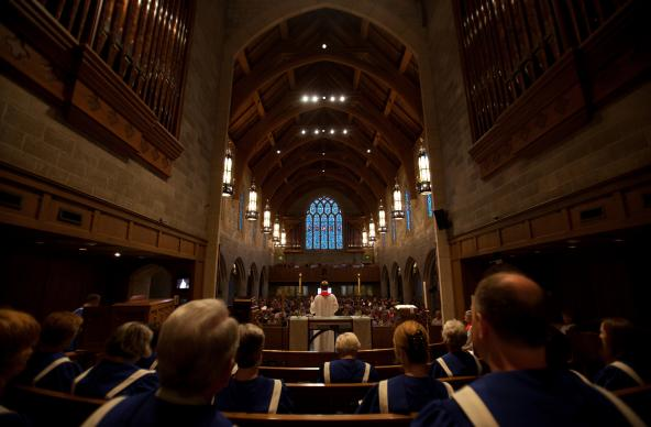 The choir's view of Pulaski Heights United Methodist Church in Little Rock, Ark., often is packed pews. The church's experience attests to Barna's findings that spiritual development and community draw young adults. Photo courtesy of Andrea Wymes