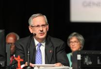 Bishop Bruce R. Ough, Dakotas-Minnesota Episcopal Area, presides over the May 19 afternoon session of the 2016 United Methodist General Church in Portland, Ore. Photo by Maile Bradfield, UMNS