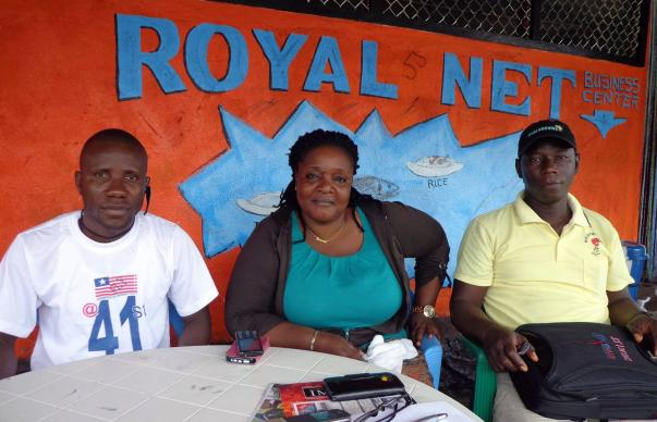 L-R: Jerald Dennis, public relations officer, Ebola Survival Association of Liberia (ESAL); Vivian Rogers, Ebola survival and member of ESAL; Foday Gallah, general coordinator of Montserrado County Sector 4 of ESAL.