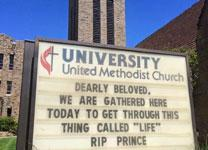 A Tulsa United Methodist church posted a tribute within hours of the singer's death, and it promptly went viral online. Photo courtesy of University United Methodist Church.