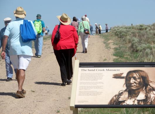 Members of the Rocky Mountain Conference visit the Sand Creek Massacre National Historic Site in eastern Colorado, on June 20, 2014. Delegates to the 2016 General Conference will get briefed on the 1864 massacre, which was led by a Methodist pastor-turned-cavalry officer. A UMNS photo by Sam Hodges.