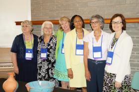 "The Southeastern Jurisdiction's women bishops join in celebration. They are, from left, retired Bishop Charlene Kammerer and active Bishops Mary Virginia ""Dindi"" Taylor, Sue Haupert-Johnson, Sharma Lewis, Hope Morgan Ward and Debra Wallace-Padgett. Photo by Jasmine Haynes, Mississippi Conference"