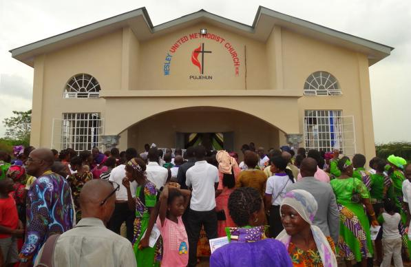 Wesley United Methodist Church opened Dec. 11. The church is the first United Methodist building to be constructed in the Pujehun District of Sierra Leone. Photo by Phileas Jusu, UMNS