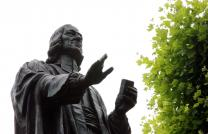 John Wesley argued throughout his life against a complete separation from the Church of England. This statue of him stands outside his house in London. Photo by Kathleen Barry, United Methodist Communications