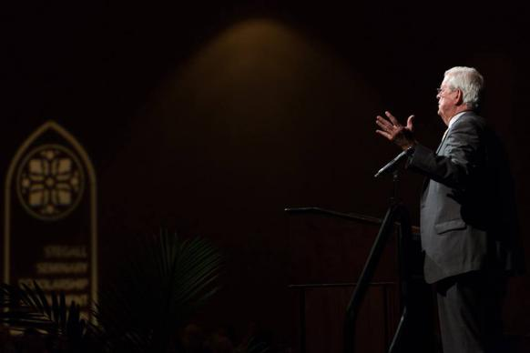 The Rev. Karl Stegall, creator of the Seminary Scholarship Endowment Foundation, speaks at the 2016 Dinner of Celebration held in Montgomery, Ala. More than 475 scholars, alumni, donors and sponsors attended. Photo by Luke Lucas, Alabama-West Florida Conference, courtesy of the Stegall Seminary Scholarship Endowment Foundation.