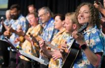 The Grace Avenue United Methodist Church Ukulele Choir, from Frisco, Texas, performed on the final day of the 2016 General Conference in Portland, Ore. The choir even gave the premier of a hymn, with text by the Rev. John Thornburg and music by the Rev. Joe Stobaugh, the choir's director. Photo by Mike DuBose, UMNS
