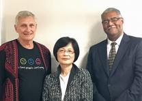 The United Methodist Global AIDS Fund Committee has elected new leadership for the quadrennium: (from left to right) Douglas Smith, secretary; Rev. Dr. Youngsook Kang, vice-chair; Bishop Julius Trimble, chair.