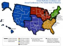 Map highlighting the United Methodist jurisdictions and annual conferences in the United States of America. Photo courtesy of United Methodist Communications