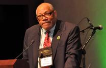 The Rev. William Bobby McClain recalled highlights in the movement of black Methodist history in his keynote address at the Black Methodists for Church Renewal meeting March 8-11, in Cincinnati. McClain is an original caucus board member and professor emeritus at Wesley Theological Seminary in Washington. Photo by John Coleman, UMNS.