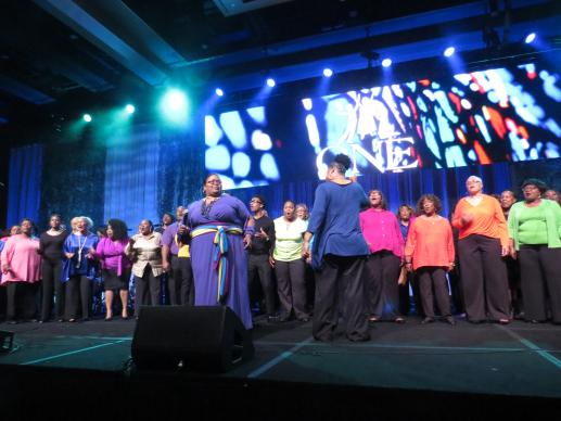A choir from Houston's Windsor Village United Methodist Church was a big hit during the Sept. 2 Texas Cultural Program at the World Methodist Conference. Photo by Sam Hodges, UMNS