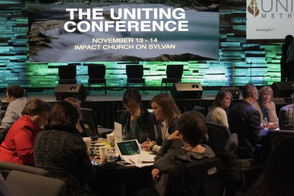 More than 300 people traveled to Impact Church in Atlanta to be part of a discussion on the possible future of The United Methodist Church. The Uniting Methodists Conference was held Nov. 13-14. Photo by Kathy L. Gilbert, UMNS.