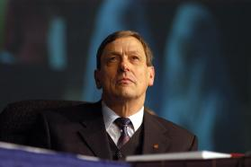 United Methodist Bishop Ruediger R. Minor listens to the episcopal address during the opening day of the denomination's 2004 General Conference in Pittsburgh. Photo by John C. Goodwin, UMNS.