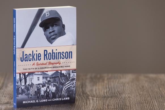 """Cover art for """"Jackie Robinson: A Spiritual Biography,"""" published by Westminster John Knox Press. The book was co-authored by Chris Lamb, professor of journalism at Indiana University-Purdue University at Indianapolis and Michael Long, professor of religious studies at Elizabethtown College. Photo by Mike DuBose, UMNS."""