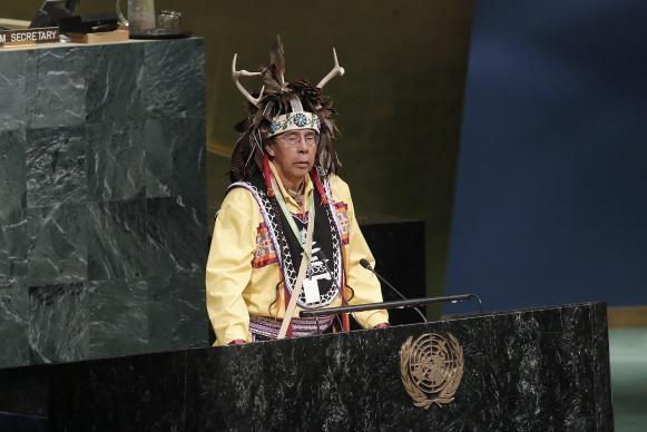 Tadodaho Sid Hill, chief of the Onondaga Nation, delivers the ceremonial welcome at the opening of the Sixteenth Session of the United Nations Permanent Forum on Indigenous Issues. Photo by Evan Schneider, UN.
