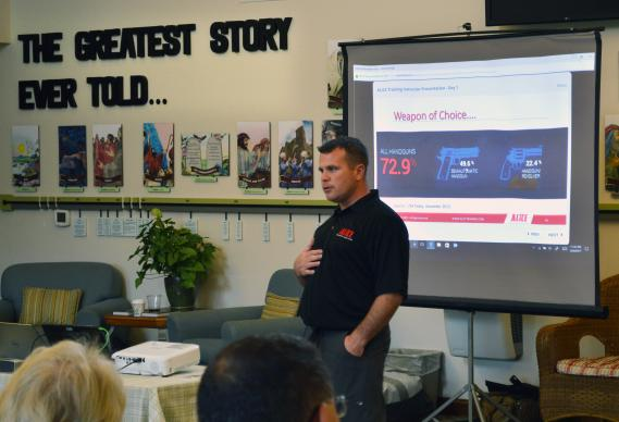 Linglestown Life United Methodist Church, in Harrisburg, Pa. had training Oct. 9 on what to do in the case of an active shooter. John Lubawski of the ALICE Training Institute led the session. Photo courtesy the Rev. George Reynolds.