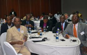 Participants of an initial meeting about the implementation of the 2016 General Conference decision to increase the number of bishops in Africa from 13 to 18, listen to discussions in Harare, Zimbabwe. Photo by Eveline Chikwanah, UMNS.