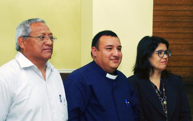 From left, Bishop Samuel Aguilar, vice president of CIEMAL (Council of Evangelical Methodist Churches in Latin America and the Caribbean); Elder Juan de Dios Peña, president of the council; and Bishop Hideide Gomes de Brito Torres, council secretary, listen during the XI Assembly taking place Oct. 9-13, in Panama City, Panama. The three were elected officers at the meeting. Photo by the Rev. Gustavo Vasquez, UMNS.